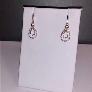 NEW 14k rose gold & 925 diamond earring